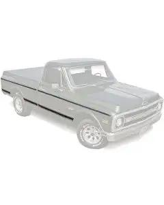 Chevy Truck Body Molding Kit, Upper & Lower, Short Bed, Fleet Side, Wood Grain, With Clips, 1969-1972