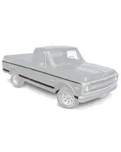 Chevy Truck Molding Kit, Lower, Long Bed, Black, Fleet Side, 1969-1972