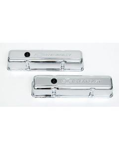 Chevy Valve Covers, Small Block, With Baffle, Tall Design, Chrome, With Chevrolet Script & Bowtie Logo, 1955-1957