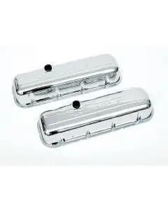 Chevy Valve Covers, Big Block, With Baffle, Tall Design, Chrome, With Chevrolet Script & Bowtie Logo, 1955-1957