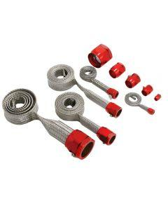 Corvette K&N Hose Cover Kit Universal Stainless Steel With Red Clamps