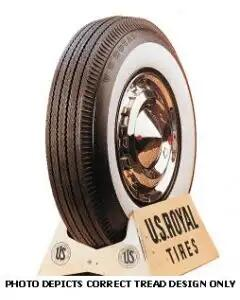 "1956-1961 Corvette Tire 6.70 x 15 2-1/2"" Whitewall US Royal"