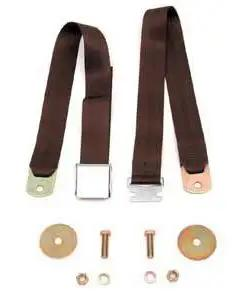 Chevy Seat Belt, Rear, Brown, 1955-1957