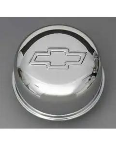 Chevy Intake Oil Fill Tube Breather Cap, Chrome Push-In, With Bowtie Logo, 1955-1957