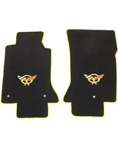 1997-2004 Corvette Lloyds Mats Floor Mats Black With Neon Yellow C5 Logos