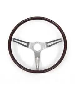 1967-1982 Corvette Steering Wheel Mahogany Rim With Brushed Stainless Steel Spokes