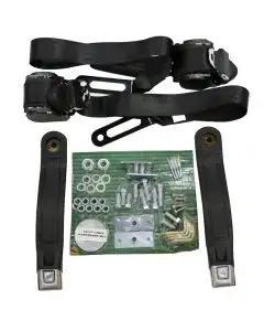 Chevelle Seat Belt & Shoulder Harness Kit, Front, 3-Point Retractable, Black, 1964-1965