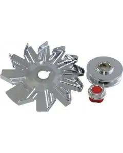 Chevelle & Malibu Alternator Pulley With Fan, Chrome 1964-83