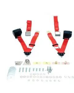 Chevelle Seat Belt & Shoulder Harness Kit, Front, 3-Point Retractable, Red, 1964-1965