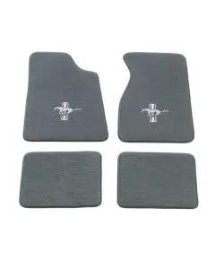 1971 Mustang Front and Rear Carpeted Floor Mat Set with Logos, 4 Pieces