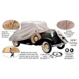 Car Cover, Poly-Cotton, With Ford Crest (FD-12) Logo, 1928-1931 Sedan, Straight Windshield