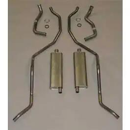 Full Size Chevy Dual Exhaust System, Stainless Steel, 409ciHigh Performance, Wagon, 1962-1964