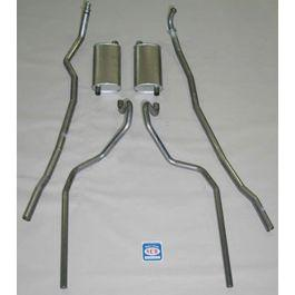 Full Size Chevy Dual Exhaust System, Small Block, 283 & 327ci, Stainless Steel, 1965-1966