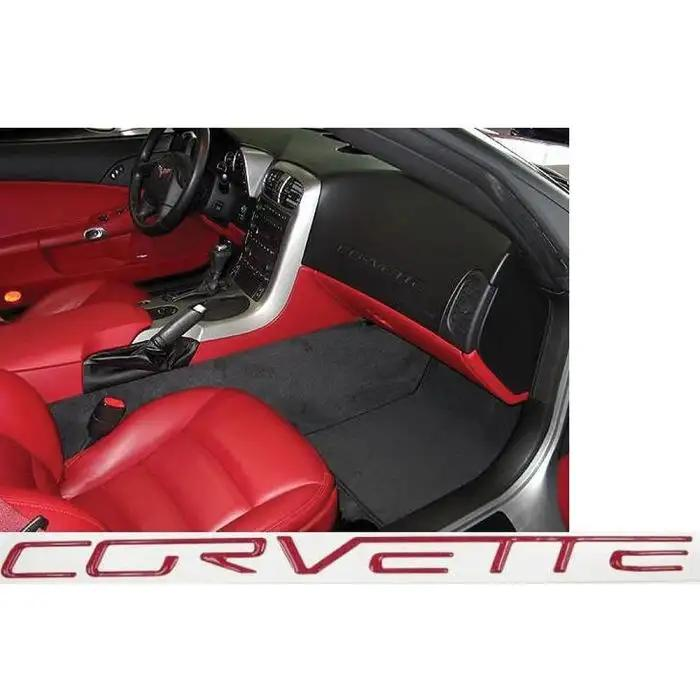 Red 2005-2013 C6 Corvette Domed Size as Dash Lettering Letters Decal Kit 3D