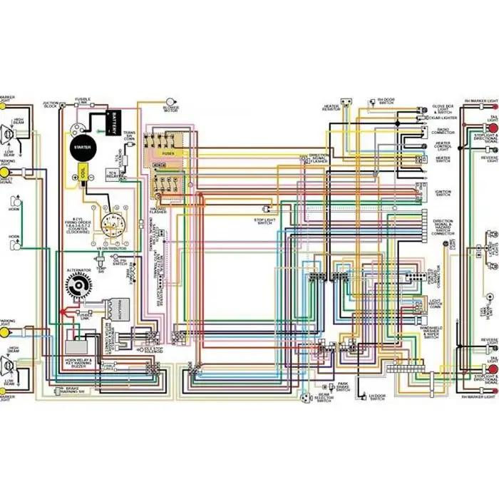 chevy color laminated wiring diagram 19581974