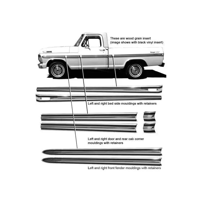 Ford Pickup Truck Body Side Moulding Kit 3 5 8 Wide F100 F250 Ranger From Serial F70 001 With 8 Styleside Bed