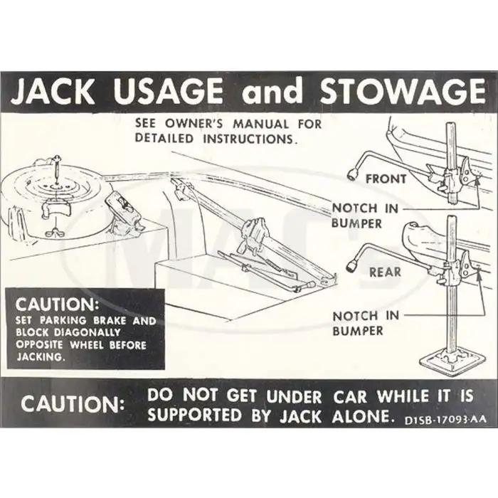 1971 FORD RANCHERO JACK INSTRUCTIONS DECAL