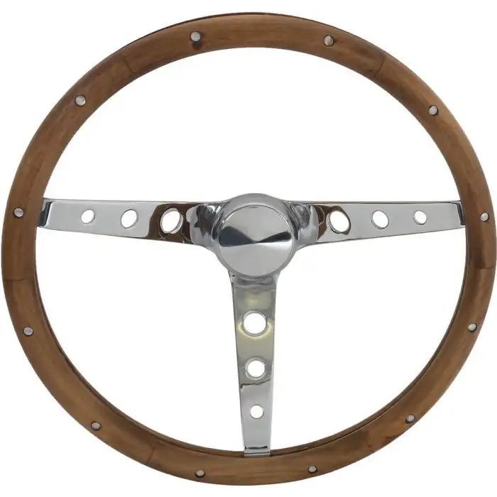 """15/"""" Polished 3-Spoke Steering Wheel Dark Wood"""
